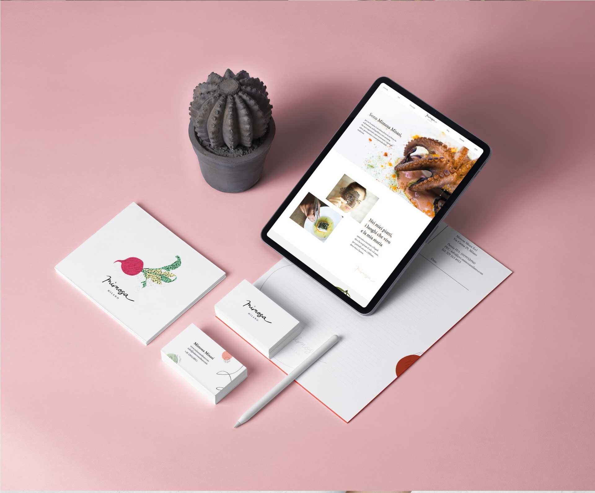 mimosa moodmama sito brochure web branding social eventi portfolio mokcup